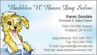 Bubbles n bows dog salon dog grooming portland oregon contact us bubbles n bows business card image colourmoves